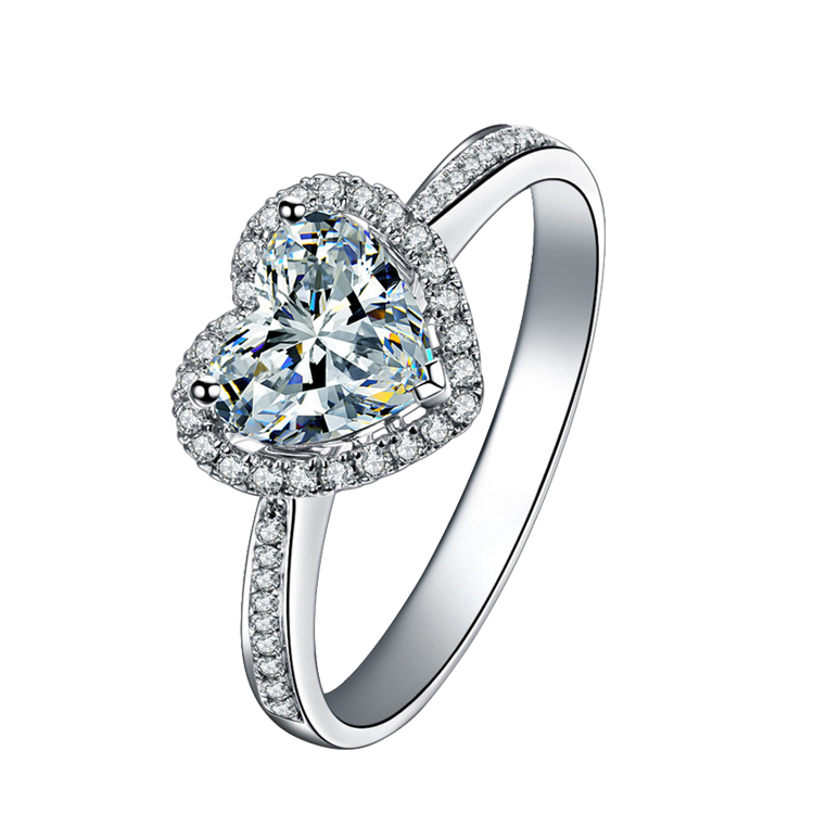Moissanites Jewelry Diamond Ring 18K White Gold Engagment Ring