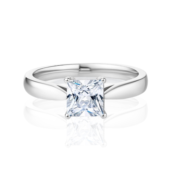 Solitaire Moissanite Ring 18k Gold Fine Jewelry