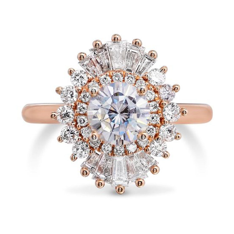New Design 18K Rose Gold Moissanite Ring Jewelry