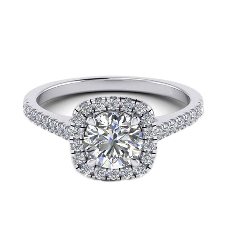 Halo 1ct moissanite ring 14k gold weding ring
