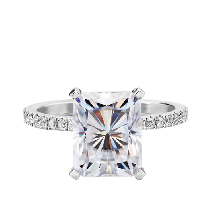 14k White Gold Radiant Moissanite Diamond Ring