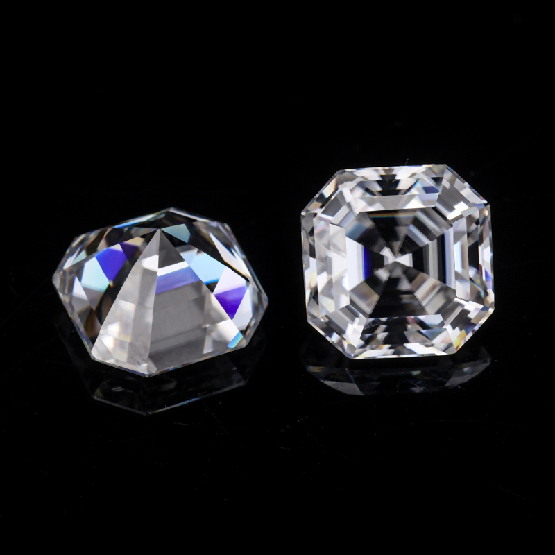 Asscher Cutting Colorless Loose Moissanite Gemstone
